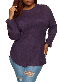 Plus Size Crew Neck Rounded Hem Sweater - 3920038349107