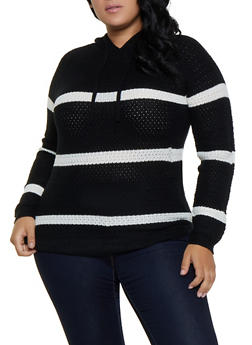 Plus Size Striped Hooded Sweater - 3920038349108