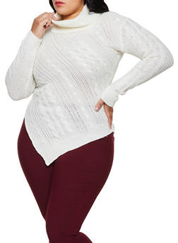 Plus Size Asymmetrical Turtleneck Sweater - 3920038349110