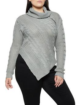 Plus Size Asymmetrical Turtleneck Sweater - 3920038349110