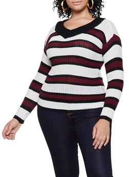 Plus Size Striped V Neck Sweater | 3920038349116 - 3920038349116