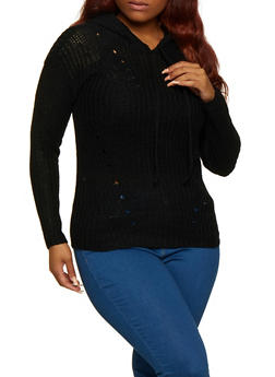 Plus Size Solid Hooded Sweater - 3920038349118