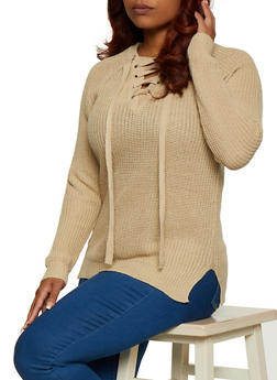 Plus Size Solid Lace Up Sweater - 3920038349120