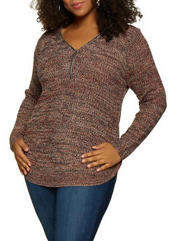 Plus Size Knit Zip Neck Sweater - 3920038349121