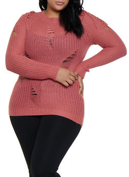 Plus Size Lace Up Shoulder Distressed Sweater - 3920038349122