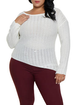 Plus Size Asymmetrical Scoop Neck Sweater - 3920038349123