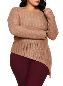Plus Size Asymmetrical Scoop Neck Sweater - 3920038349123