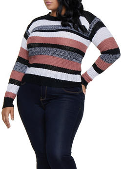 Plus Size Striped Marled Sweater - 3920038349127