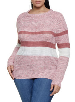Plus Size Striped Knit Sweater - 3920038349129