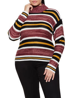 Plus Size Mock Neck Striped Sweater - 3920038349130