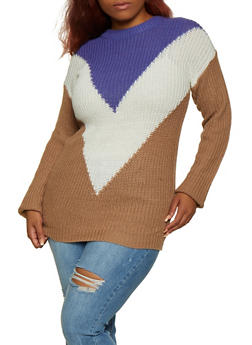 Plus Size Chevron Color Block Sweater - 3920038349131