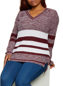 Plus Size Marled Striped Sweater - 3920038349132