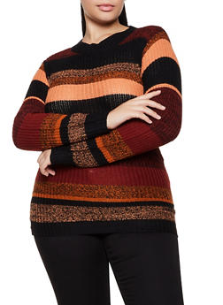Plus Size Striped Tunic Sweater - 3920038349133