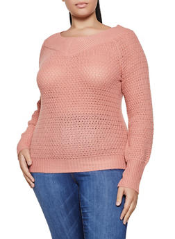 Plus Size V Neck Long Sleeve Sweater - 3920038349134