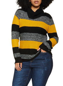 Plus Size Color Block Cowl Neck Sweater - 3920038349135