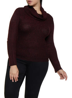 Plus Size Two Tone Knit Sweater - 3920038349136