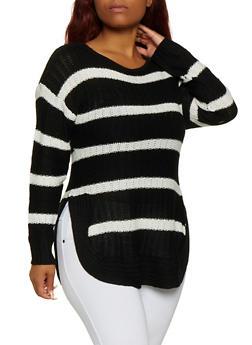 Plus Size Striped Crew Neck Sweater - BLACK - 3920038349137