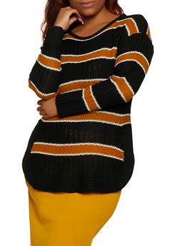 Plus Size Striped Crew Neck Sweater - 3920038349137
