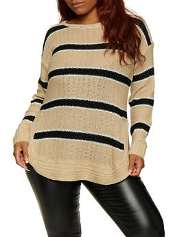 Plus Size Striped Crew Neck Sweater - 3920038349137