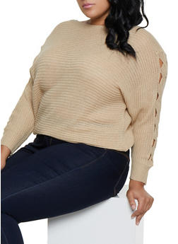 Plus Size Braided Sleeve Knit Sweater - 3920038349138