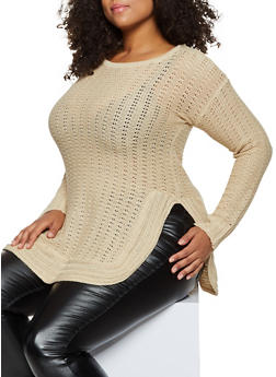 Plus Size Long Sleeve Side Slit Sweater - 3920038349139