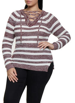 Plus Size Lace Up V Neck Striped Sweater - 3920038349149