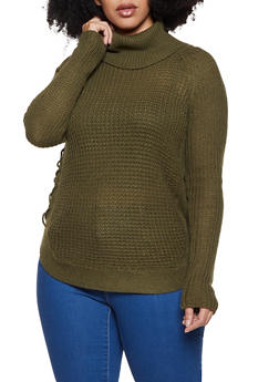 Plus Size Cowl Neck Lace Up Sweater - 3920038349150
