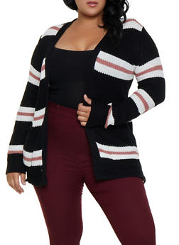 Plus Size Striped Two Pocket Cardigan - 3920038349204