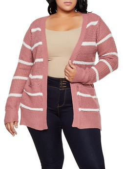 Plus Size Striped Knit Cardigan | 3920038349205 - 3920038349205