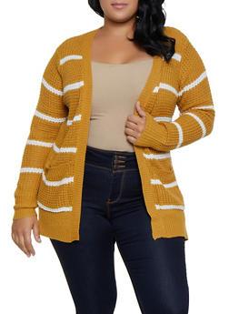 Plus Size Striped Knit Cardigan | 3920038349205 - 3920038349205