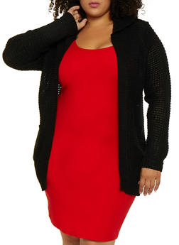 Plus Size Hooded Waffle Knit Duster - 3920038349207