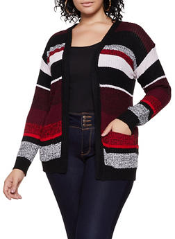 Plus Size Striped Knit Two Pocket Cardigan - 3920038349209