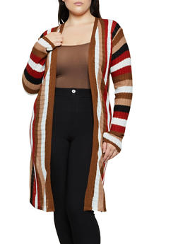 Plus Size Knit Striped Duster - 3920038349211