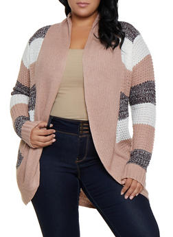 Plus Size Striped Drape Front Cardigan - 3920038349212