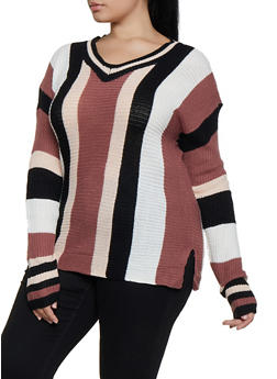 Plus Size Variegated Stripe Sweater - 3920038349268