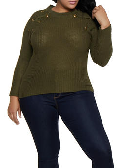 Plus Size Lace Up Detail Knit Sweater - 3920038349271
