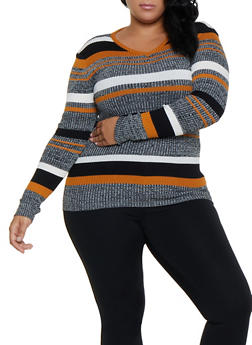 Plus Size V Neck Striped Sweater - 3920038349421