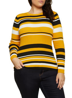 Plus Size Crew Neck Striped Sweater - 3920051060135