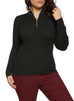 Plus Size Half Zip Sweater - 3920051060136