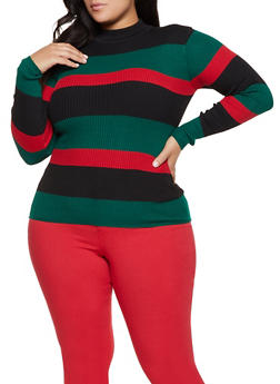 Plus Size Striped Mock Neck Sweater - 3920051060178
