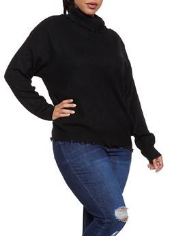 Plus Size Frayed Turtleneck Sweater - 3920051060180