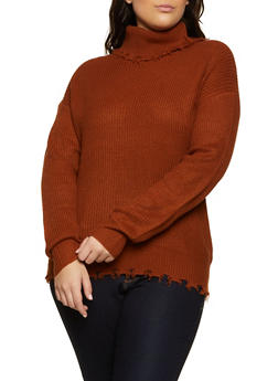 Plus Size Frayed Turtleneck Sweater - 3920051060180