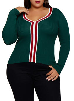Plus Size Contrast Trim V Neck Sweater - 3920051060184