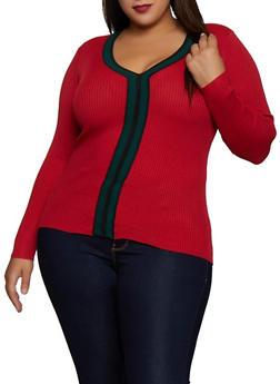Plus Size Contrast Trim V Neck Sweater - 3920051060184