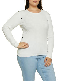 Plus Size Ribbed Metallic Detail Sweater - 3920051060193