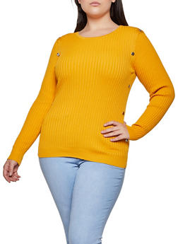 Plus Size Ribbed Metallic Detail Sweater - 3920051060193