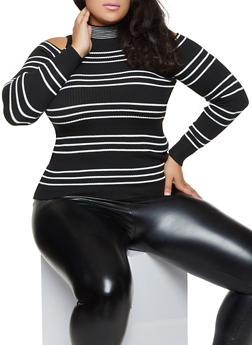 Plus Size Striped Cold Shoulder Sweater - 3920051060195