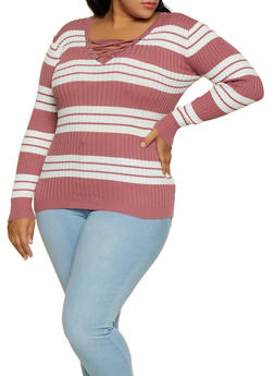 Plus Size Lace Up Striped Sweater - 3920051060203