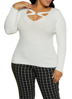 Plus Size O Ring Detail Sweater - 3920051060204
