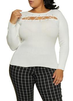Plus Size Lace Up Slit Front Sweater - 3920051060206